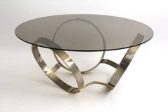 Mid Century Modern Brass Plated Vintage Coffee Table with Three Rings circa 1970