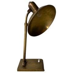 Mid-Century Modern Brass Rounded Desk Table Lamp, France, 1950