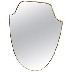 Mid-Century Modern Brass Shield Wall Mirror in the Manner of Gio Ponti, 1950