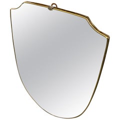 Mid-Century Modern Brass Shield Wall Mirror in the Manner of Gio Ponti, 1950s