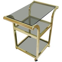 Mid-Century Modern Brass Smoked Glass 3-Tier Trolley Bar Serving Cart, 1970s