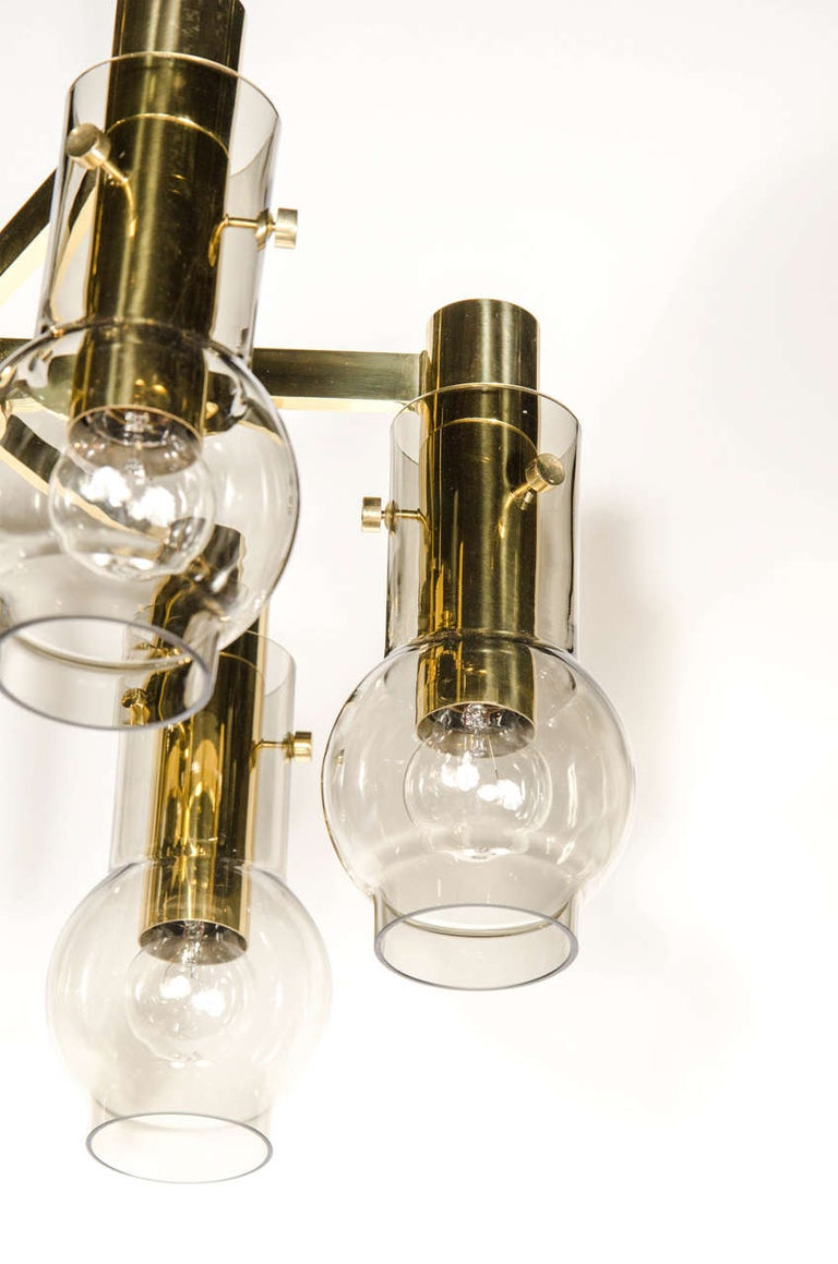 Swedish Mid-Century Modern Brass & Smoked Glass 6-Arm Chandelier by Hans Agne Jakobsson For Sale
