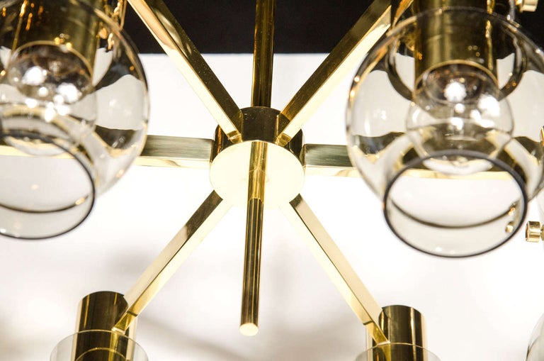 Mid-Century Modern Brass & Smoked Glass 6-Arm Chandelier by Hans Agne Jakobsson In Excellent Condition For Sale In New York, NY