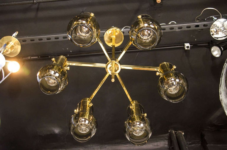 Mid-Century Modern Brass & Smoked Glass 6-Arm Chandelier by Hans Agne Jakobsson For Sale 1