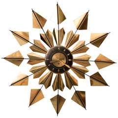 Mid-Century Modern Brass Sunburst Clock