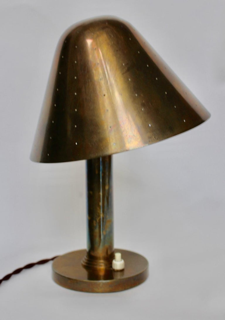 Mid-20th Century Mid-Century Modern Brass Table Lamp by Carl Axel Acking Attributed, 1940s Sweden For Sale
