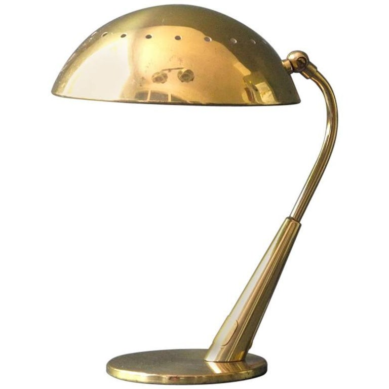 Mid Century Modern Brass Table Lamp By Kaiser For Sale At 1stdibs