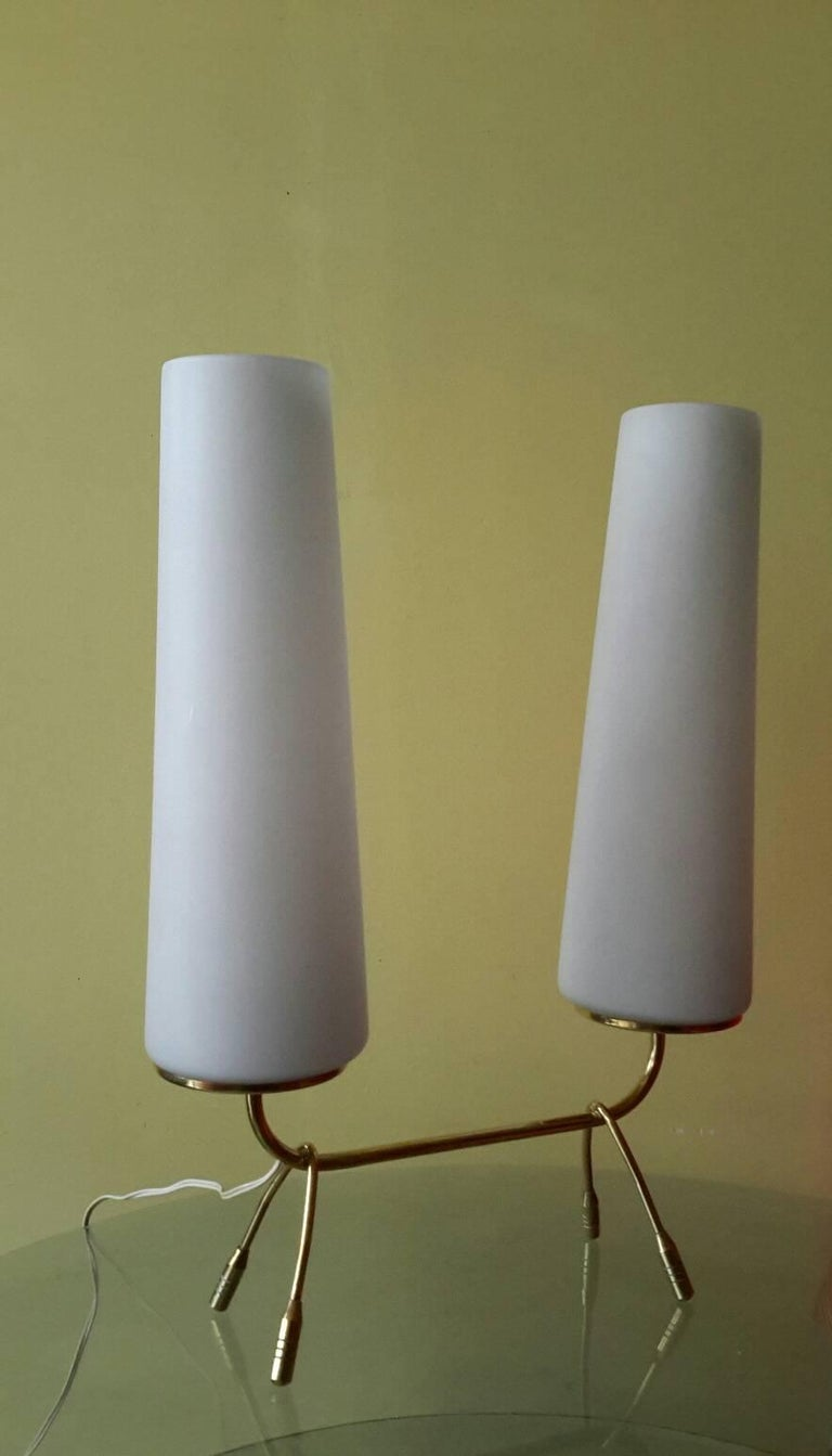 French Mid-Century Modern Brass Table Lamp, France, 1950s For Sale