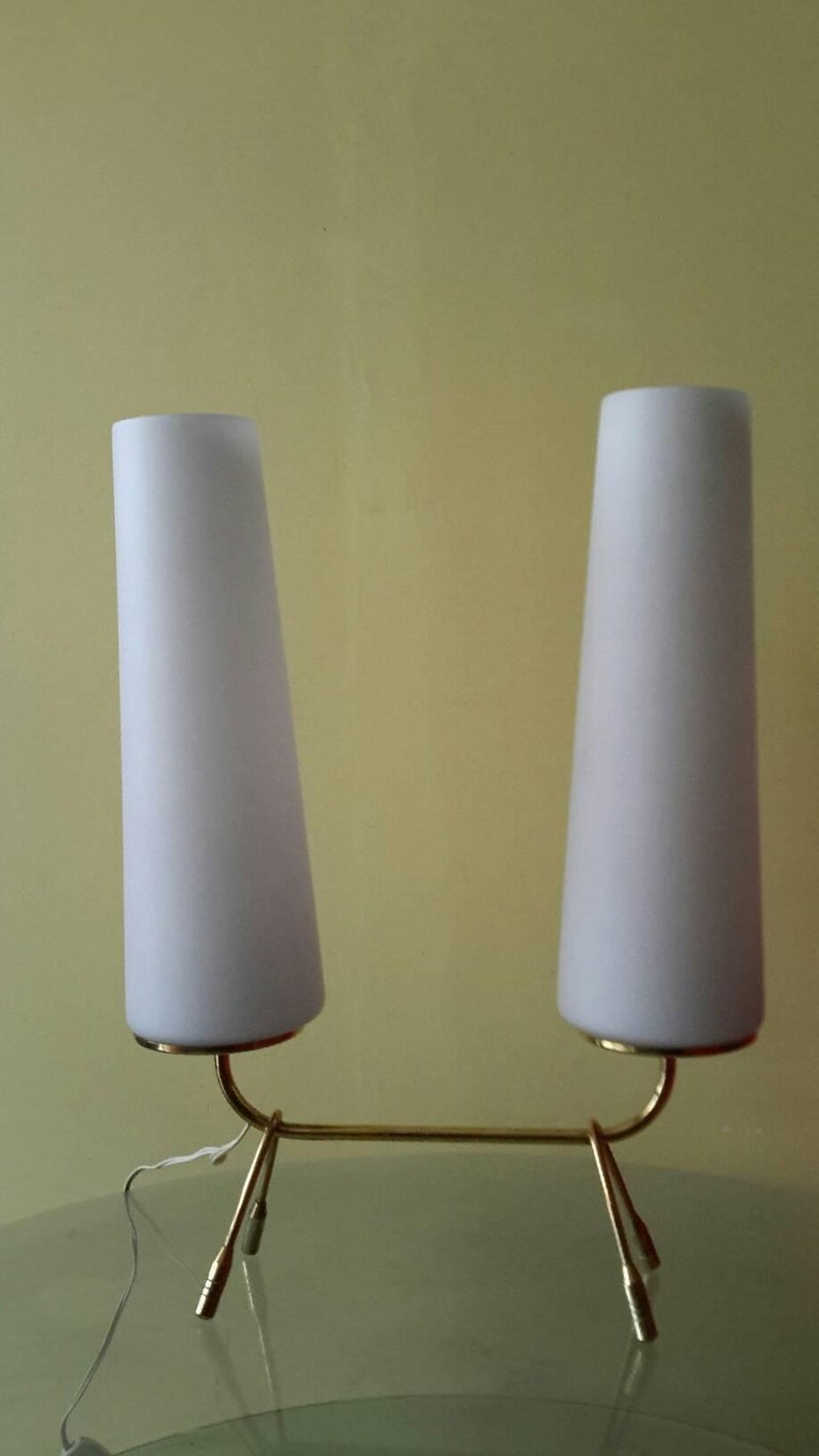 Mid-Century Modern Brass Table Lamp, France, 1950s For Sale 1