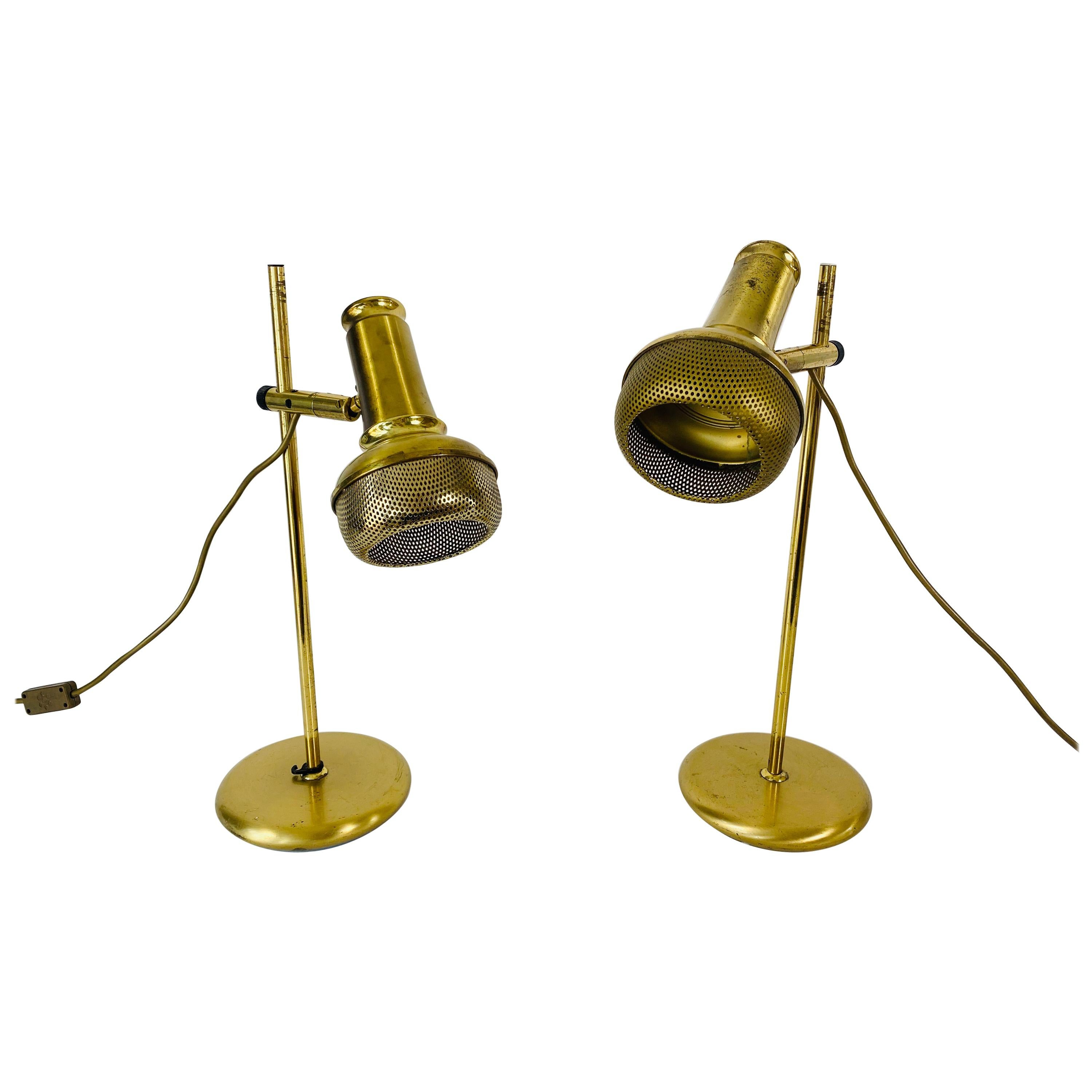 Mid-Century Modern Brass Table Lamps, Pair, 1960s