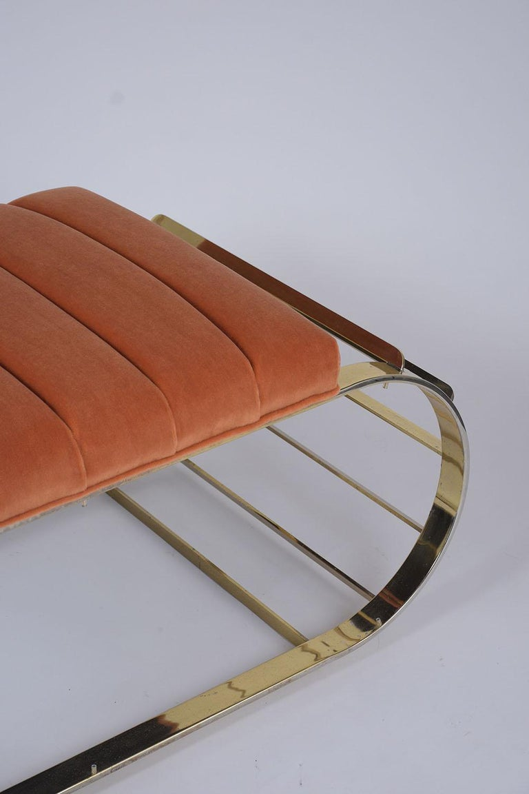 Plated Mid-Century Modern Brass Tufted Channel Bench For Sale