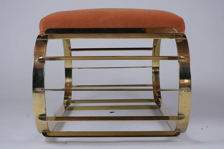 Late 20th Century Mid-Century Modern Brass Tufted Channel Bench For Sale