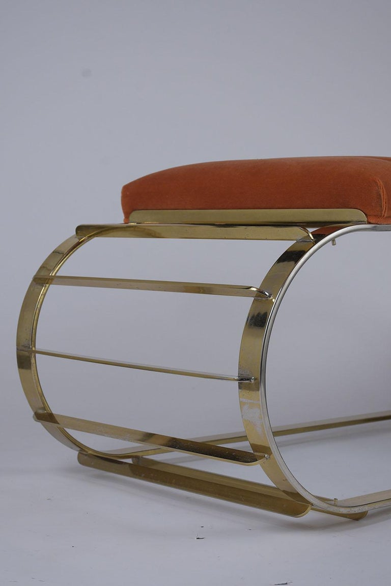 Mid-Century Modern Brass Tufted Channel Bench For Sale 3