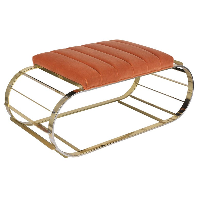 Mid-Century Modern Brass Tufted Channel Bench For Sale