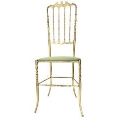 Mid-Century Modern Brass Vintage Chiavari Side Chair, 1950s, Italy
