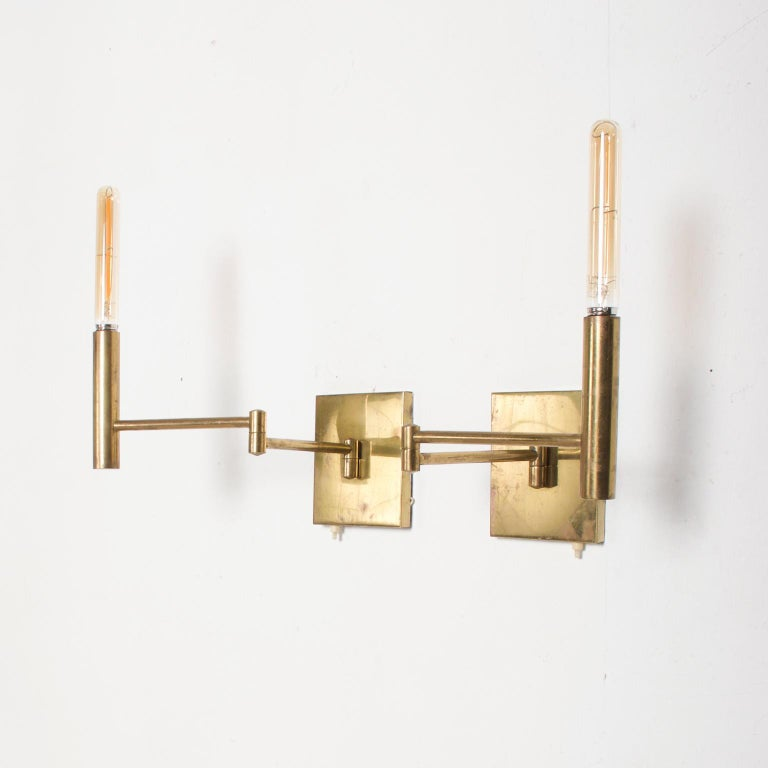 Mid-Century Modern Brass Wall Sconces, After Lightolier In Fair Condition For Sale In National City, CA