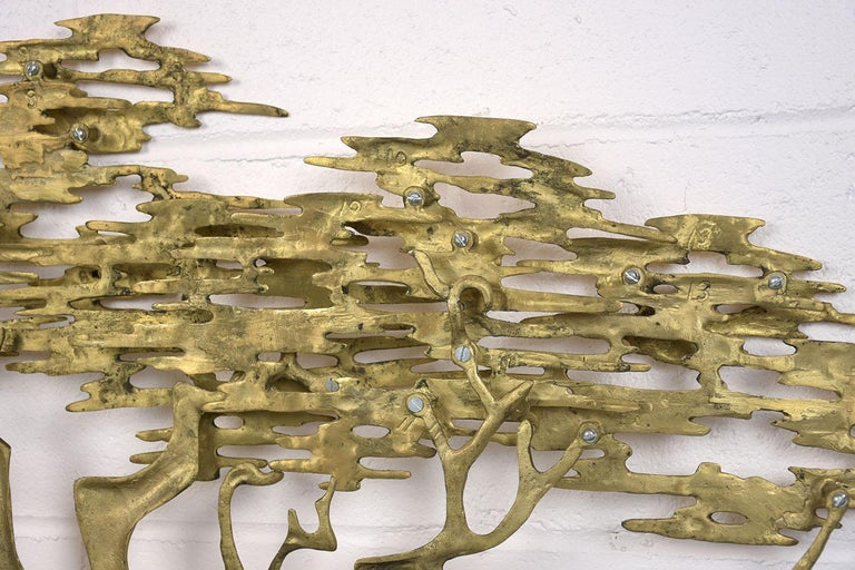 Enameled Mid-Century Modern Brass Wall Sculpture For Sale
