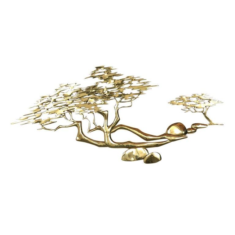 Mid-Century Modern Brass Wall Sculpture For Sale