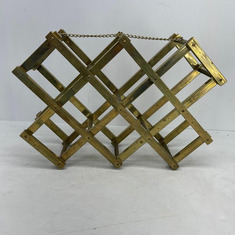 Mid-Century Modern Brass Wine Rack For Sale 8
