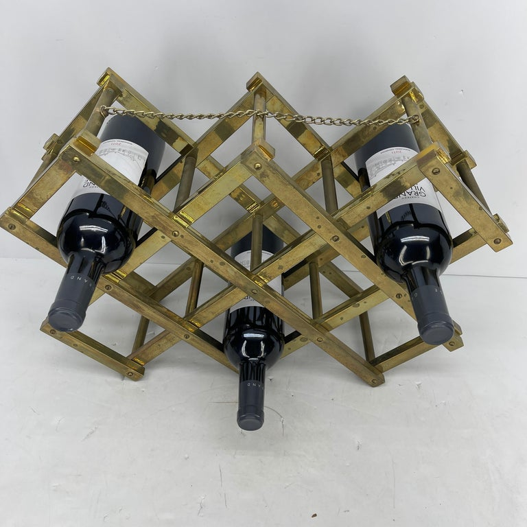 Hand-Crafted Mid-Century Modern Brass Wine Rack For Sale