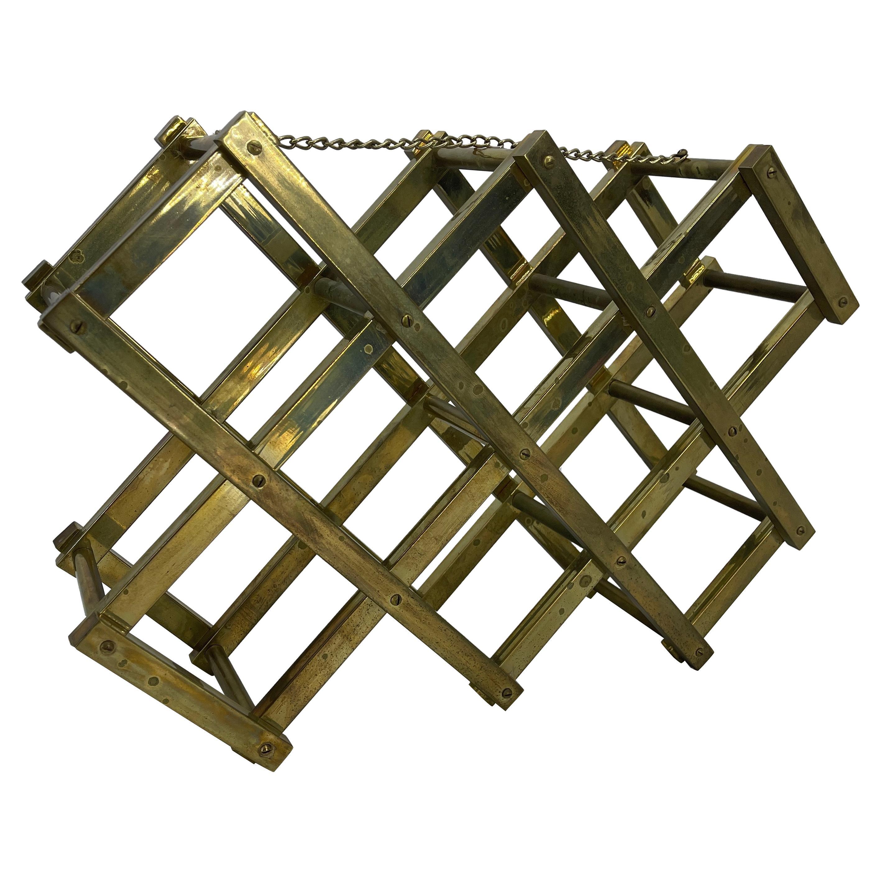 Mid-Century Modern Brass Wine Rack