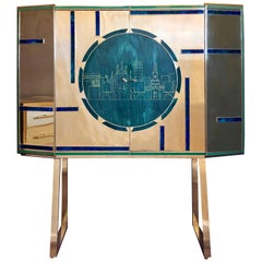 Mid-Century Modern Brass, Wood & Engraved Emerald Green Murano Glass Dry Bar