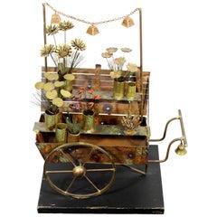 Mid-Century Modern Brass Wood Flower Cart Table Sculpture Signed Jere, 1970s