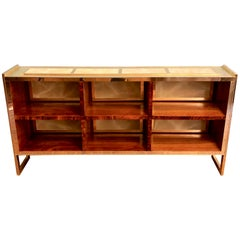 Mid-Century Modern Brass, Wood and Light Green Artistic Murano Glass Bookcase