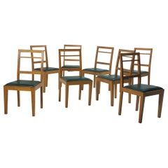 Mid-Century Modern Set of 8 Chairs in Wood and Leather, Brazil 1960s