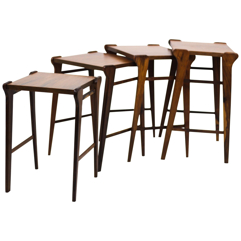Mid-Century Modern Brazilian Wood Nesting Side Tables, 1950s