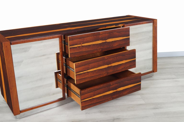 Mid-Century Modern Brazilian Rosewood Credenza In Excellent Condition For Sale In Burbank, CA