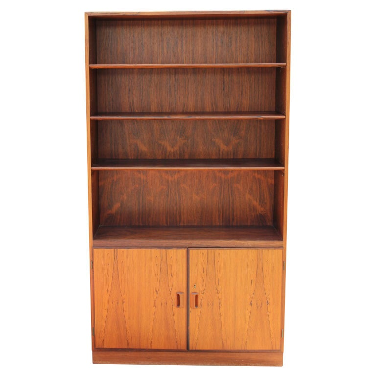 Mid Century Modern Brazilian Rosewood Danish Bookcase Shelf Cabinet By Soborg At 1stdibs