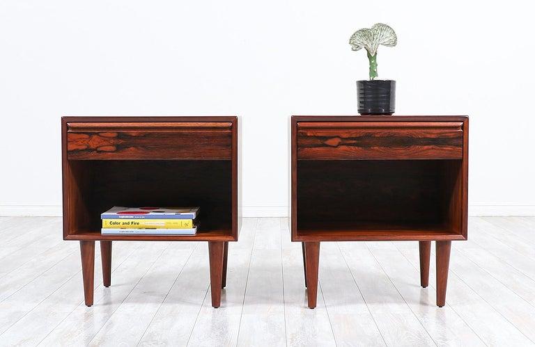 Mid-Century Modern Brazilian rosewood nightstands by Westnofa.