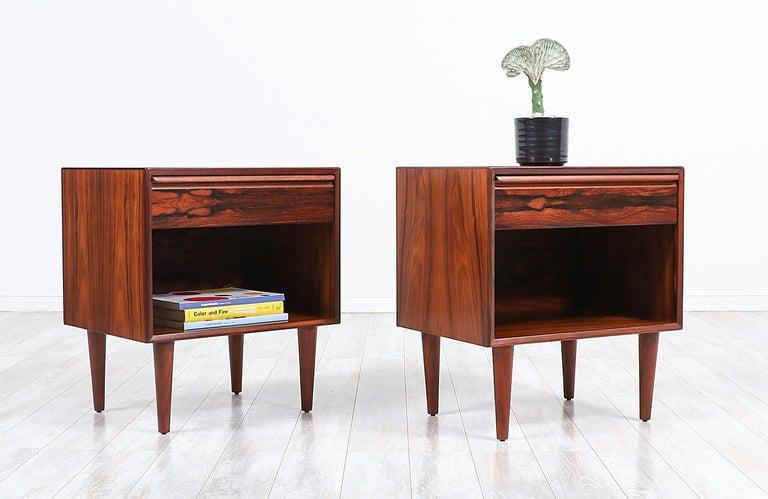 Scandinavian Modern Mid-Century Modern Brazilian Rosewood Nightstands by Westnofa For Sale