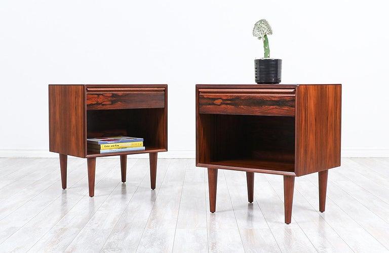 Norwegian Mid-Century Modern Brazilian Rosewood Nightstands by Westnofa For Sale