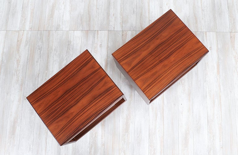 Mid-20th Century Mid-Century Modern Brazilian Rosewood Nightstands by Westnofa For Sale