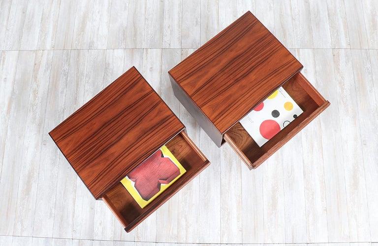 Wood Mid-Century Modern Brazilian Rosewood Nightstands by Westnofa For Sale