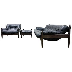 Mid Century Modern Brazilian style leather sofa chair set