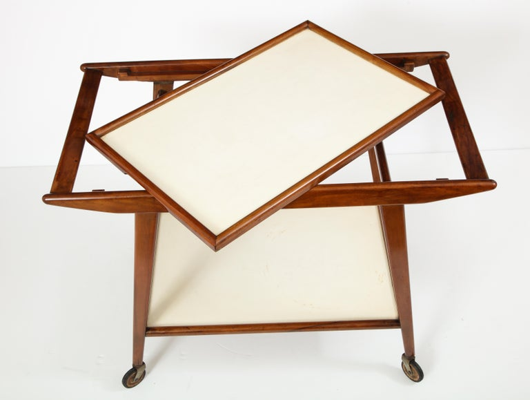 Mid-20th Century Mid-Century Modern Brazilian Tea Cart in Hardwood and Formica by OCA, 1950s For Sale