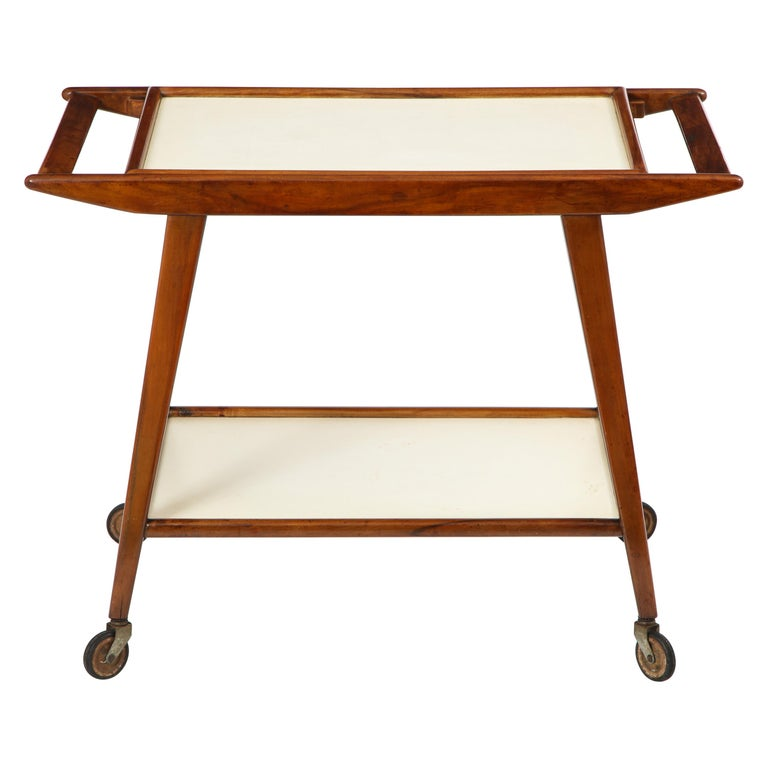 Mid-Century Modern Brazilian Tea Cart in Hardwood and Formica by OCA, 1950s For Sale