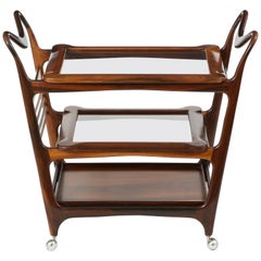 Mid-Century Modern Brazilian Tea Cart in Wood and Glass with Removable Trays