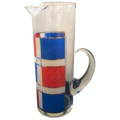 Mid-Century Modern Briard Style Mondrian Themed Glass Pitcher in Blue, Red, Gold