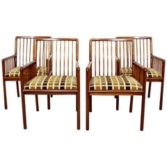 Mid-Century Modern Brickell Set 4 Cherry Spindle Ladder Backed Side Chairs 1990s