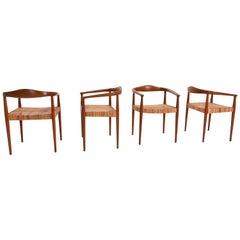 Mid-Century Modern Bridge Chairs, Teak and Rattan, Denmark, 1960, Set of 4