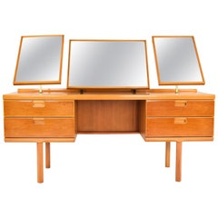 Mid-Century Modern British Beechwood Dressing Table with Triptych Mirror 1960s