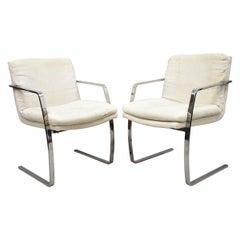 Mid-Century Modern BRNO Style Chrome Cantilever Lounge Armchairs 'A', a Pair