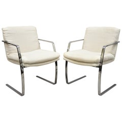 Mid-Century Modern BRNO Style Chrome Cantilever Lounge Armchairs 'B', a Pair
