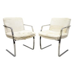 Mid-Century Modern BRNO Style Chrome Cantilever Lounge Armchairs 'C', a Pair