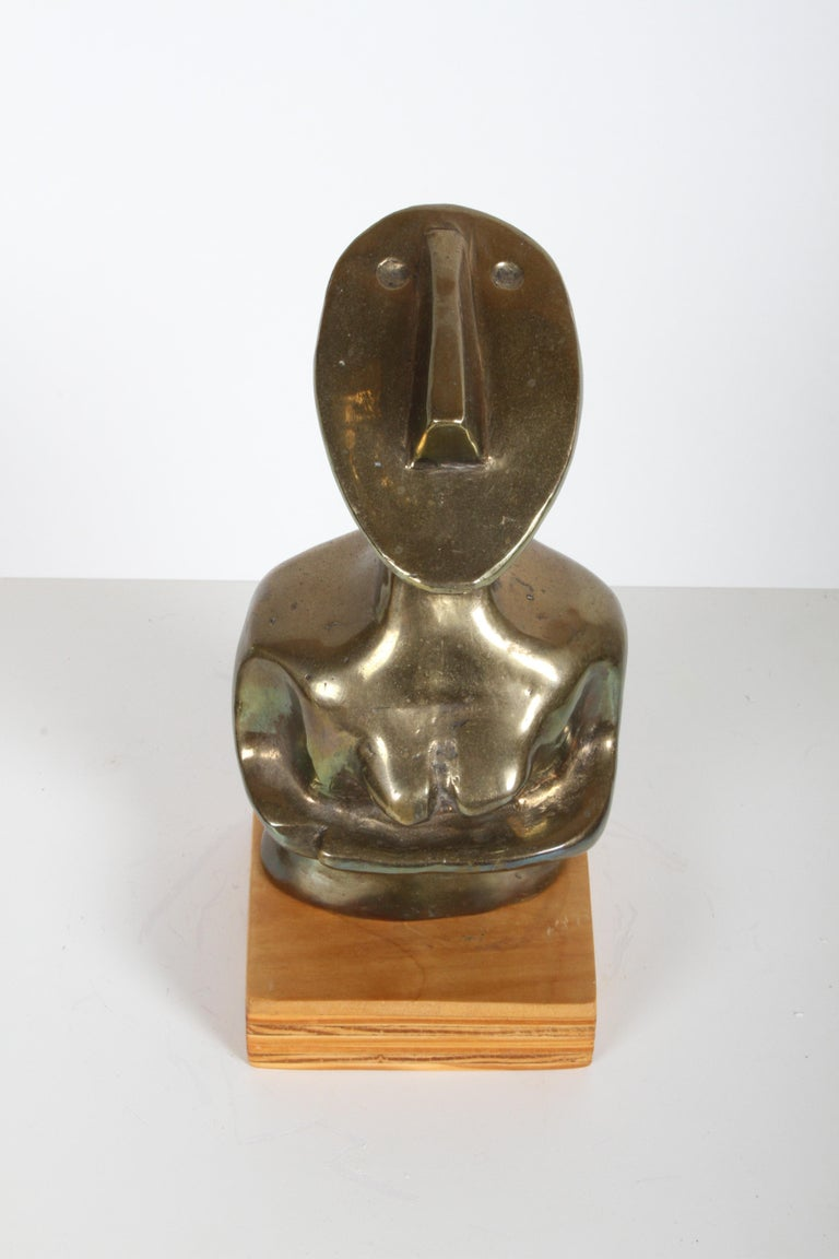 Mid-Century Modern Bronze African Cubist Nude Female Sculpture, Picasso Style For Sale 7