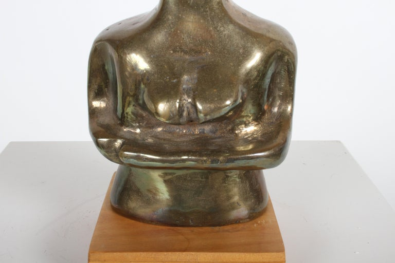 Mid-Century Modern Bronze African Cubist Nude Female Sculpture, Picasso Style For Sale 9